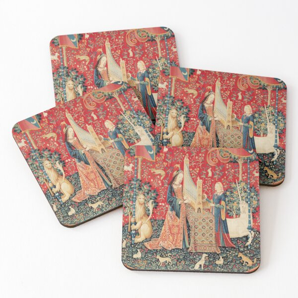 UNICORN AND LADY PLAYING ORGAN WITH ANIMALS , Hearing Coasters (Set of 4)