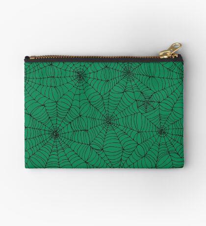Spider Web Pattern - Black on Green - Spiderweb pattern by Cecca Designs Studio Pouch