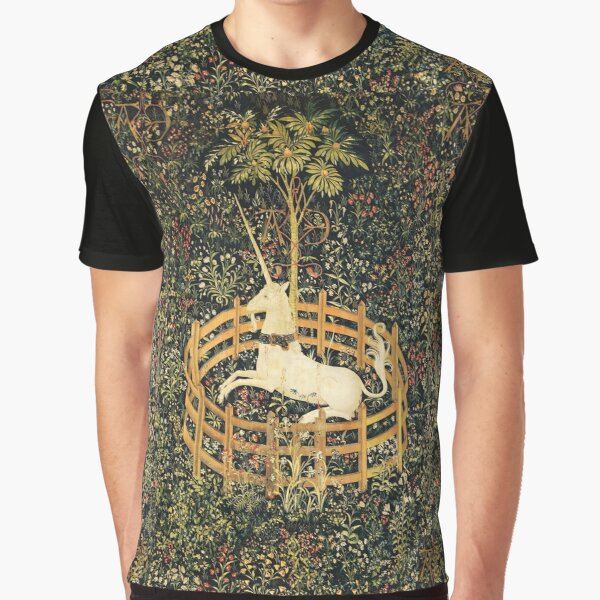 UNICORN AND GOTHIC FANTASY FLOWERS, GREEN FLORAL MOTIFS Graphic T-Shirt