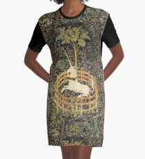 UNICORN AND GOTHIC FANTASY FLOWERS,FLORAL MOTIFS Graphic T-Shirt Dress