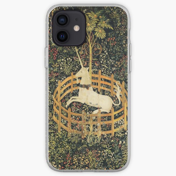 UNICORN AND GOTHIC FANTASY FLOWERS, GREEN FLORAL MOTIFS iPhone Soft Case