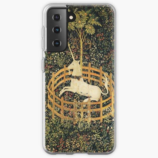 UNICORN AND GOTHIC FANTASY FLOWERS, GREEN FLORAL MOTIFS Samsung Galaxy Soft Case