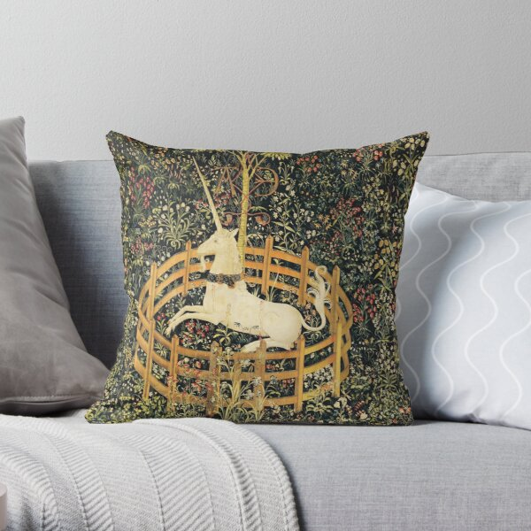 UNICORN AND GOTHIC FANTASY FLOWERS, GREEN FLORAL MOTIFS Throw Pillow