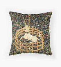 UNICORN AND GOTHIC FANTASY FLOWERS,FLORAL MOTIFS Throw Pillow