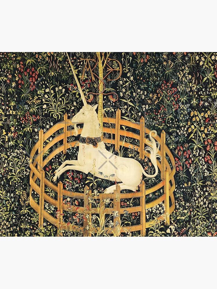 UNICORN AND GOTHIC FANTASY FLOWERS, GREEN FLORAL MOTIFS by BulganLumini