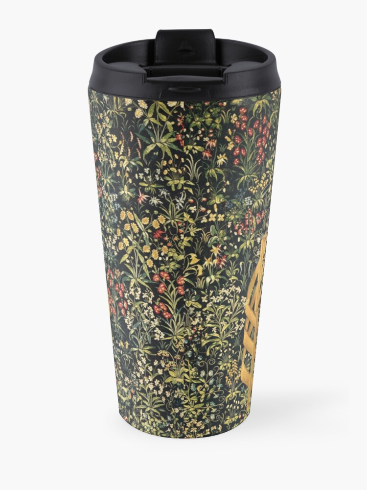 Alternate view of UNICORN AND GOTHIC FANTASY FLOWERS, GREEN FLORAL MOTIFS Travel Mug