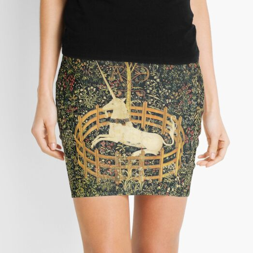 UNICORN AND GOTHIC FANTASY FLOWERS,FLORAL MOTIFS Mini Skirt