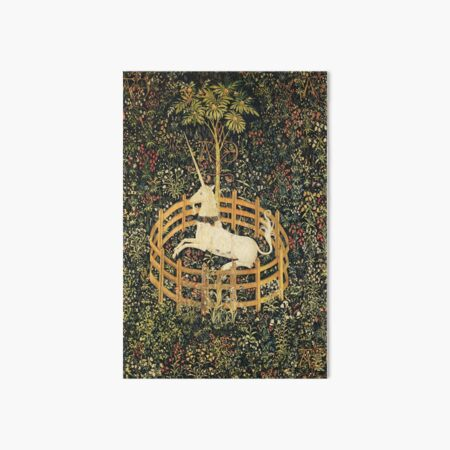 UNICORN AND GOTHIC FANTASY FLOWERS, GREEN FLORAL MOTIFS Art Board Print