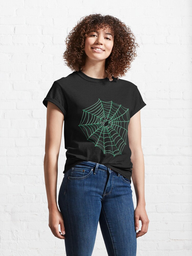 Alternate view of Spider Web Pattern - Black on Green - Spiderweb pattern by Cecca Designs Classic T-Shirt
