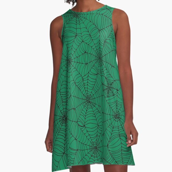 Spider Web Pattern - Black on Green - Spiderweb pattern by Cecca Designs A-Line Dress