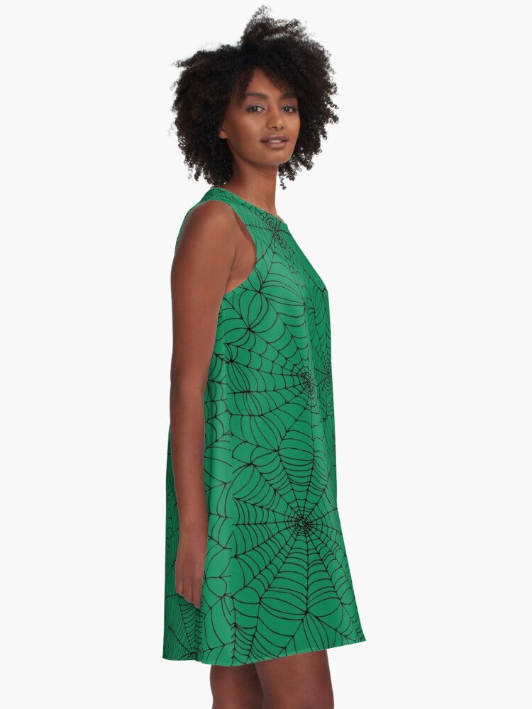Alternate view of Spider Web Pattern - Black on Green - Spiderweb pattern by Cecca Designs A-Line Dress