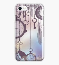 Steampunk Clock and Key Art, Dreamcatcher Keys Feather Art iPhone Case/Skin