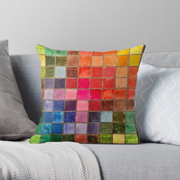 Rainbow Tiles Golden Mosaic Throw Pillow