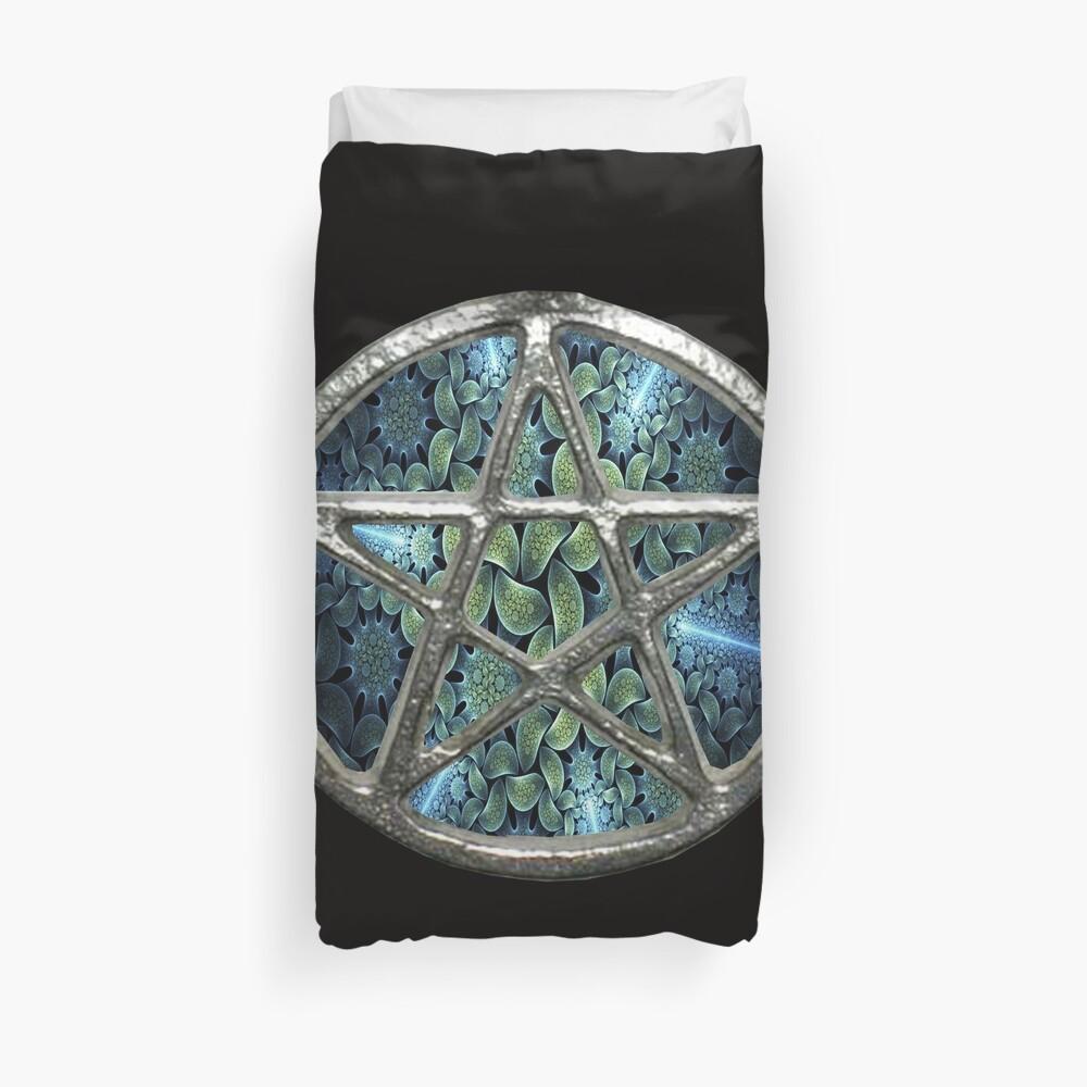 Fractal Water Pentagram Pentacle Wicca Duvet Cover