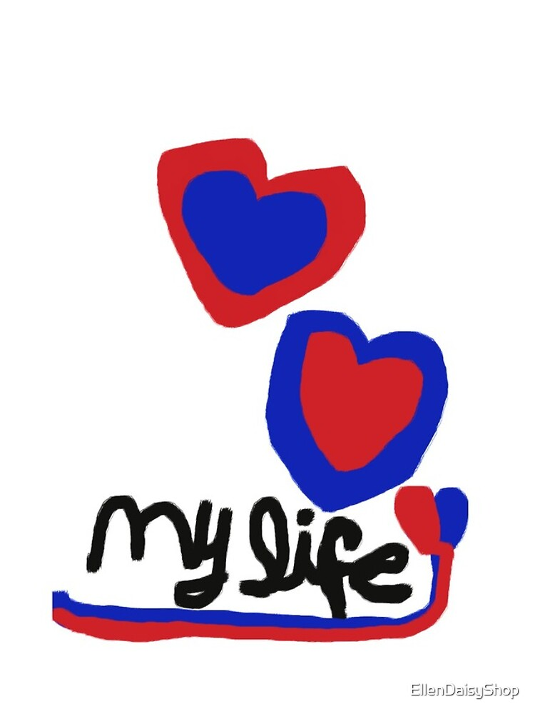 love My life Heart T-Shirt Blue Red Hearts by EllenDaisyShop