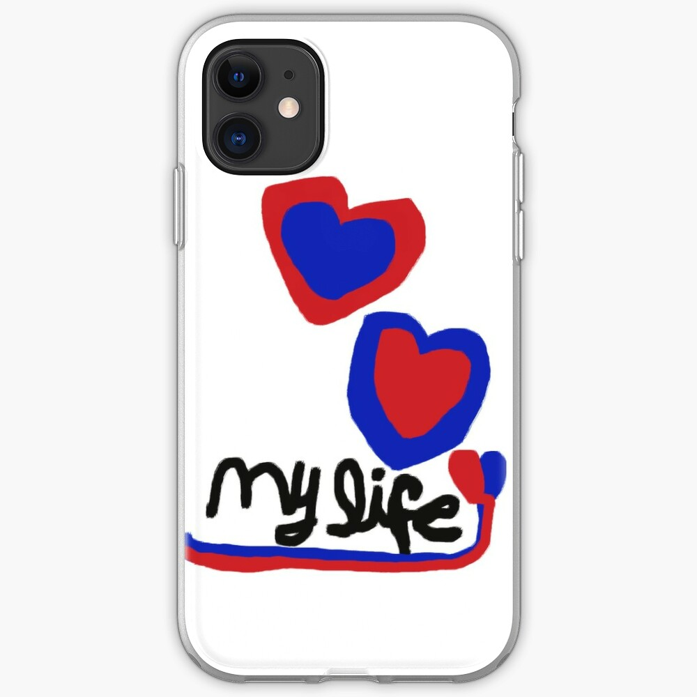 love My life Heart T-Shirt Blue Red Hearts iPhone Case & Cover