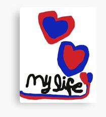 love My life Heart T-Shirt Blue Red Hearts Canvas Print