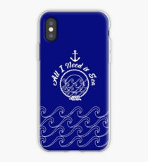 All I Need is Sea - white on navy iPhone Case