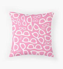 Pastel Pink Smart Glasses Pattern Throw Pillow