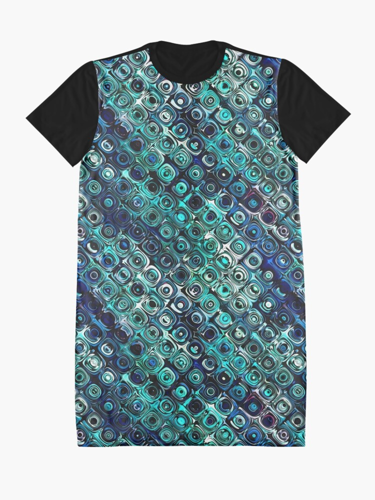 Alternate view of Blue And Green Pattern Graphic T-Shirt Dress