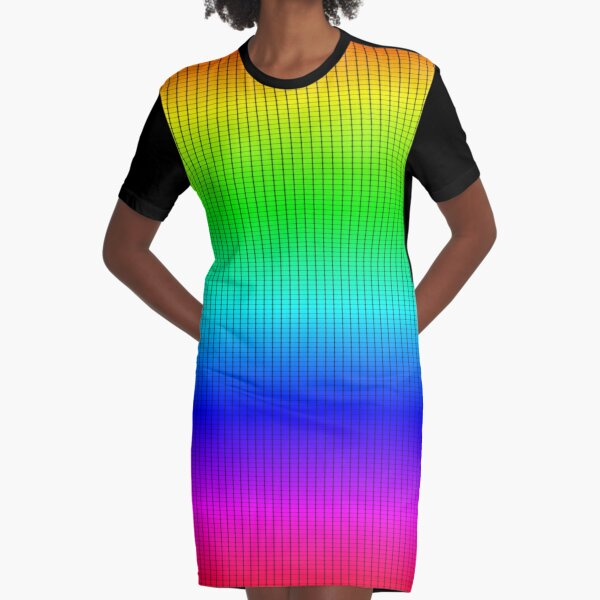 Ombre Shaded Rainbow Neon Grid Graphic T-Shirt Dress