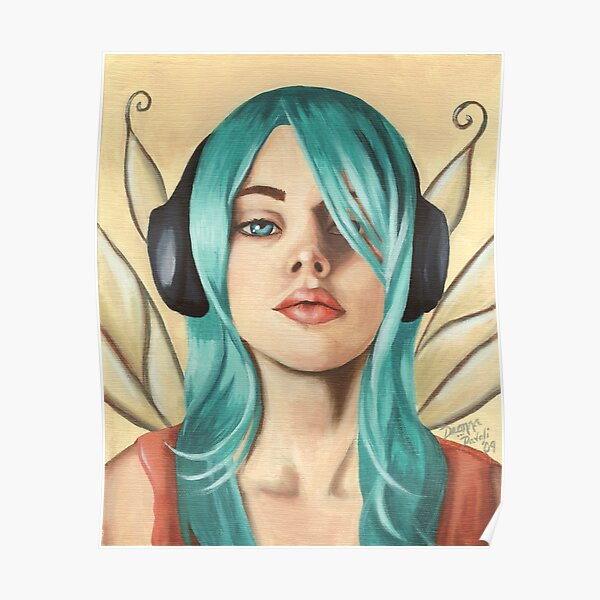 Headphone Fairy Punk Fairy Modern Fairy Poster