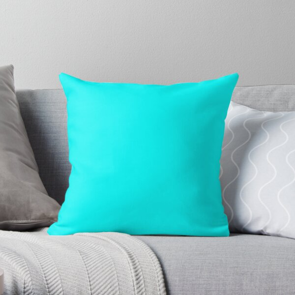 PLAIN SOLID CYAN 100 TURQUOISE AND AQUA AND CYAN  SHADES ON OZCUSHIONS ON ALL PRODUCTS Throw Pillow