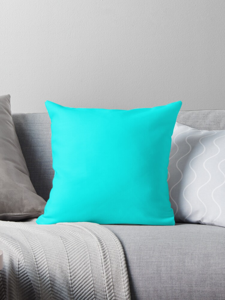 'PLAIN SOLID CYAN 100 TURQUOISE AND AQUA AND CYAN SHADES ON OZCUSHIONS ON  ALL PRODUCTS' Throw Pillow by ozcushions