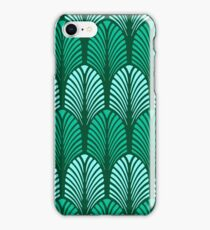 Art Deco Feather Pattern, Turquoise and Aqua  iPhone Case/Skin