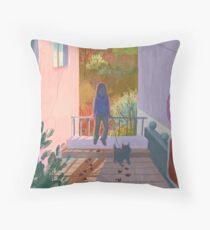 between two buildings  Throw Pillow