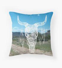 New Mexico Bull Skull Throw Pillow