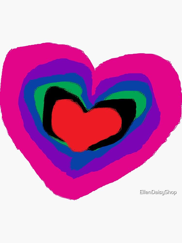 Pride RainBow Heart Pink Heart Purple Heart by EllenDaisyShop
