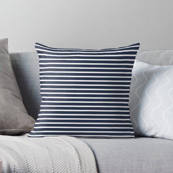 Nautical Navy and White Horizontal Stripes Throw Pillow