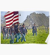 "Stylized photo of Civil War re-enactors marching on a ""battlefield"". Poster"