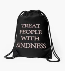 Treat People With Kindness Black & Pink Drawstring Bag