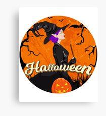 Bruja Hermosa con Calabaza. Halloween Canvas Print