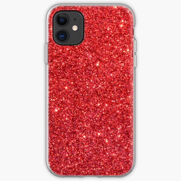 Shiny Sparkly Christmas Cherry Red Glitter iPhone Soft Case