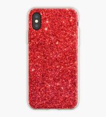 Vinilo o funda para iPhone Brillante Sparkly Christmas Cherry Red Glitter
