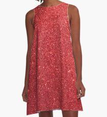 Shiny Sparkly Christmas Cherry Red Glitter A-Line Dress