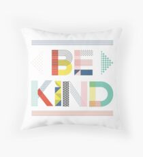 Be Kind | Colorful Mix Pattern Typography Throw Pillow