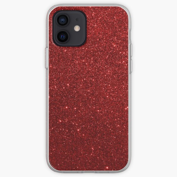 Deep Red Sparkly Valentine Sweetheart Glitter iPhone Soft Case