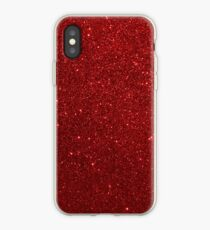 Deep Red Sparkly Valentine Sweetheart Glitter iPhone Case