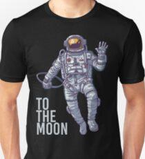 Bitcoin astronaut to the Moon -light text Unisex T-Shirt