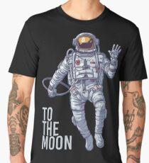 Bitcoin astronaut to the Moon -light text Men's Premium T-Shirt