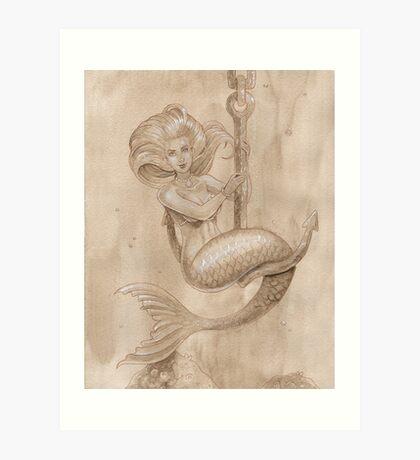 Mermaid On Anchor Art Print