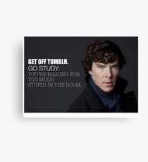 Sherlock Holmes BBC: Get off Tumblr. Go Study. You're making too much stupid in the room. Canvas Print