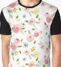 Watercolor Floral Blossom Pattern Graphic T-Shirt
