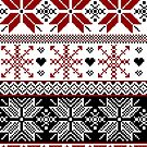 Red and Black Winter Fair Isle Pattern by tanyadraws