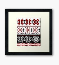 Red and Black Winter Fair Isle Pattern Framed Print