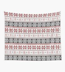 Red and Black Winter Fair Isle Pattern Wall Tapestry